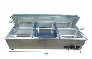 5 pot Commercial Bain marie Buffet Food Warmer 1 Full Size Pan And 4 1 2pan