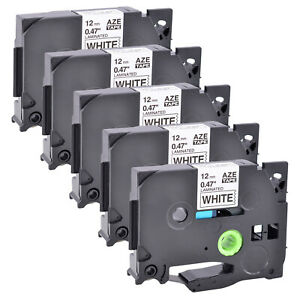 5pk pack Compatible With Brother Tz231 Tze231 Black On White Label Tape 0 47