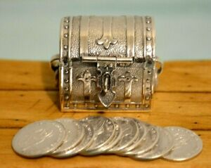 Miniature Sterling Silver Treasure Chest Dollhouse With 10 Coins