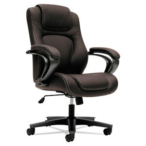 Basyx Vl402 Series Executive High back Chair Brown Vinyl Vl402en45