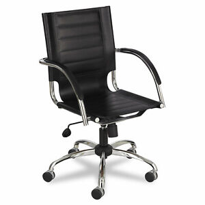 Safco Flaunt Series Mid back Manager s Chair Black Leather chrome 3456bl