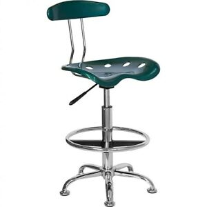Flash Furniture Low Back Polymer Drafting Stool With Tractor Seat Vibrant Green