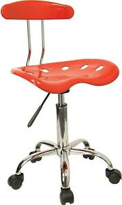 Flash Furniture Vibrant Computer Stool With Tractor Seat Red Lf214red