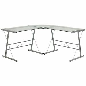 Flash Furniture 84 Glass L shape Computer Desk Clear silver nancd22181