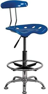 Flash Furniture Chrome Low Back Drafting Stool With Tractor Seat Vibrant Bright