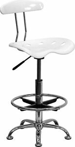 Flash Furniture Vibrant Chrome Drafting Stool With Tractor Seat White Lf215white