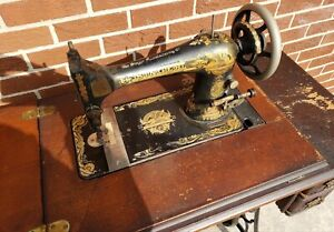 Antique Singer Sphinx Treadle Sewing Machine With Table