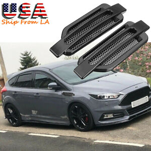 2x Black Abs Sporty Racing Car Air Flow Vent Side Fender Decor Trim Universal