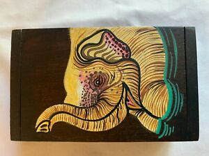 Wood Business Card Holder With Hand Painted Elephant From Thailand