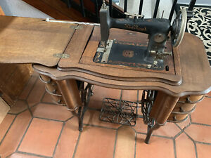 Early 1900 S Singer New Royal Treadle Sewing Machine Oak Cabinet W 6 Drawers