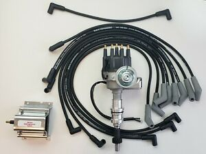 Ford 351w Small Cap Hei Distributor 8 5mm Black Spark Plug Wires 60k Coil