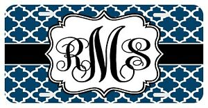 Clover Navy Personalized Monogrammed License Plate Custom Auto Car Tag