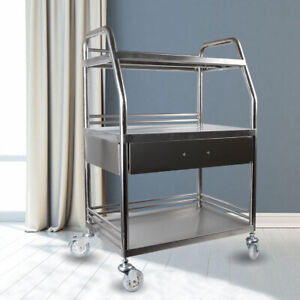 3 Layer Portable Mobile Cart Trolley Instrument Stand Tray Laboratory Tray
