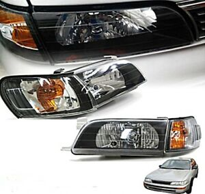 Headlights Black Diamond Lamp Set For Toyota Corolla Ae100 Ae101 Year 1992 1995