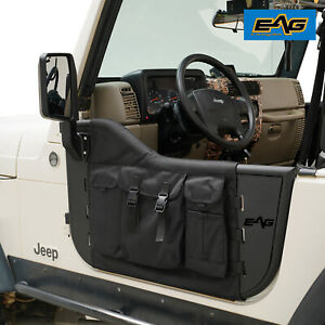 Eag Pocket Steel Tube Door With Side Mirror Pair Fit For 97 06 Jeep Tj Wrangler