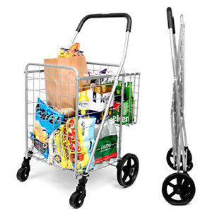Grocery Utility Shopping Cart Deluxe Folding Cart With Double Basket 360 Rol