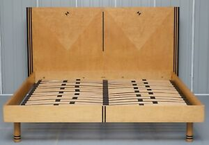 Burr Walnut Small Super King Size Biedermeier Art Deco Style Bed Frame Headboard