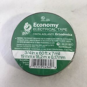 New Duck Brand Tape Electric 3 4 x60 Black 1 Roll Electrical Tape