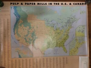 Wall Map Of Pulp And Papermills In Us And Canada 33 T 41 5 W
