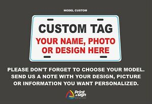 Personalized Custom Aluminum License Plate Car Tag American Flag Name Companies