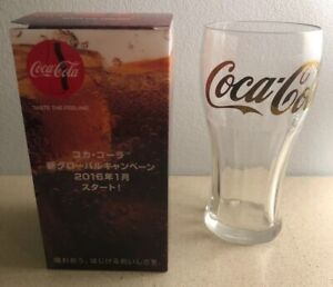 """Set Of 2 Coca Cola 2016 """"New Global Campaign"""" Glass from Japan - NEW in Box"""