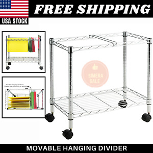 Metal Rolling File Cart For Folder Storage Mailroom Office With Hanging Divider