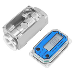 New Led Digital Turbine Flow Meter Diesel Fuel Flowmeter 15 120l min 1 npt Blue