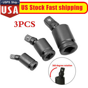 Swivel Impact Sockets 3pcs Universal Joint Adapter Air 1 4 3 8 1 2 Black Usa