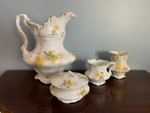 Antique 6 Piece Pitcher Soap Dish Chamber Pot Small Pitcher Wash Set Daisies