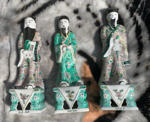 3 Great 13 Chinese Famille Rose Star God Immortal Scholar Figures Pink Green