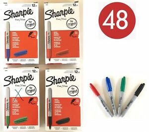 Lot 48 Assorted Red Blue Green Black Sharpie Fine Permanent Markers