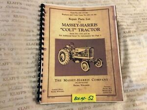 Massey Harris Colt Tractor Parts Catalog Manual 69 155 M2