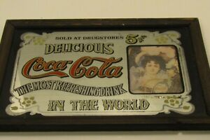vintage 1970's Coca Cola drugstores mirrored framed 5 cent sign 13 x 9 oak frame