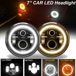 2x 7 Inch Led Headlight With Angel Eye Drl Light H4 H13 For Ford Mustang 65 73