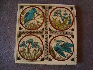 Charming Minton Birds Foliage Aesthetic Period Tile 21 82a