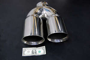 5 Dual 6 Diesel Exhaust Tip 5 00 Stainless Steel Polished Chrome Miter Stack