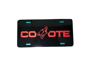 1 X Red Mustang Coyote Logo Aluminum License Plate Car Truck