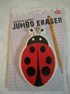 Cute Lady Bug Jumbo Eraser Paperweight Red Black White New