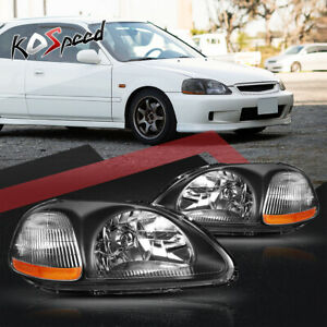For 1996 1998 Honda Civic Black Housing Amber Reflector Replacement Headlights