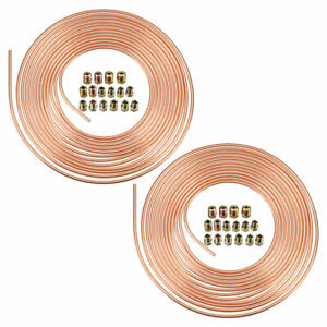 2x Copper Brake Line Tubing Kit 3 16 Od Of 25ft Coil Roll With 32 Fittings Gold