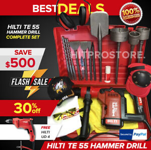 Hilti Te 55 Hammer Drill Preowned Free Ud 4 Bits Chisels Extras Fast Ship