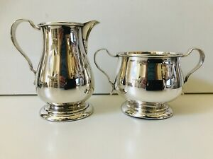 Lunt 1132 1133 Paul Revere Style Sterling Silver Sugar Bowl And Creamer