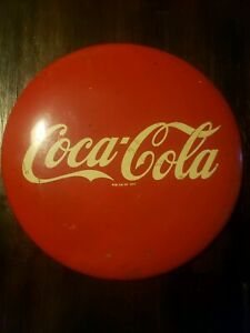 VINTAGE COCA COLA 12 INCH ROUND METAL ADVERTISING CURVED BUTTON SIGN