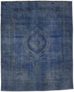 Overdyed Blue Antique Large 9x11 Distressed Handmade Oriental Area Rug Carpet