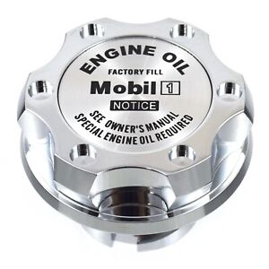 Chrome Billet Silver Mobil 1 Anodized Oil Cap Filler For C7 Corvette