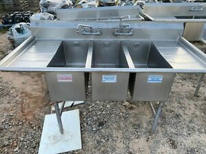 Fully Commercial Heavy Duty 77 5 Stainless Steel 3 Compartment Kitchen Sink Nsf
