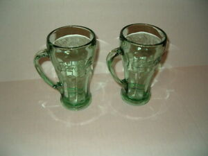 2 Libby Glass Coca Cola Mugs-Large 12 oz Mugs Heavy Green Glass 6 1/4
