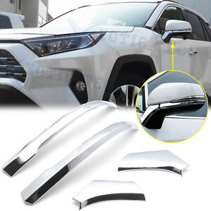 Chrome Rearview Side Mirror Molding Cover Trims Decor For Toyota Rav4 2019 2020