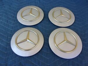 Mercedes 15 16 Set Of 4 Silver Gold Flat Face Wheel Center Cap Covers
