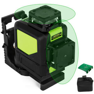 Rotary Laser Level Kit Self leveling 8 Line Green Beam 98 Range 3d Cross 360